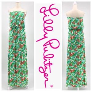 Lilly Pulitzer Strapless Floral Maxi Dress